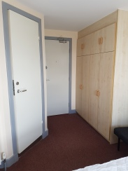 Maclay Rm 4, bathroom on left, entrance straight, closets right